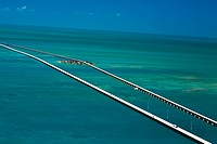 Aerial view of two bridges over the sea, Florida Keys, Florida, USA