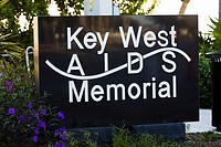 Close-up of an information board, Key West AIDS Memorial, Key West, Florida, USA