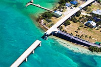 Aerial view of a bridge over the sea, Florida Keys, Florida, USA