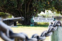 Cannon in a field, Fort Zachary Taylor State Park, Key West, Florida, USA