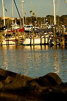 Reflection of boats in water, Cocoa Beach, Florida, USA