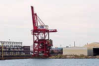 Crane at a commercial dock, Baltimore, Maryland, USA