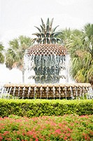 Fountain in a park, Waterfront Park, Charleston, South Carolina, USA