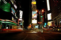 Buildings lit up at night in a city, Times Square, Manhattan, New York City, New York State, USA