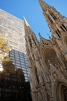 Low angle view of a church, St Patrick's Cathedral, Manhattan, New York City, New York State, USA (thumbnail)