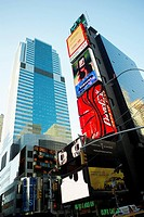 Low angle view of buildings in a city, Times Square, Manhattan, New York City, New York State, USA