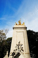 Low angle view of Maine monument, Merchant's Gate, Central Park, Manhattan, New York City, New York State, USA