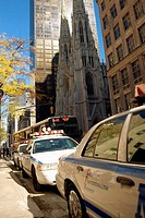 Cars parked at the roadside, St  Patrick's Cathedral, Manhattan, New York City, New York State, USA