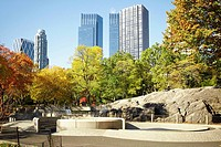 Trees in front of a building, Central Park, Manhattan, New York City, New York State, USA