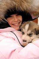 Girl with Canadian Husky, Churchill, Manitoba