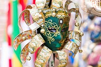 Close-up of a decorative masquerade mask, Venice, Italy (thumbnail)