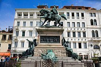 Low angle view of statues in front of a building, Vittorio Emanuele II Statue, Riva Degli Schiavoni, Venice, Italy