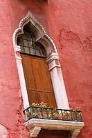 Low angle view of a balcony of a building, Venice, Italy