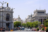 Traffic on a road in front of buildings, Gran Via, Madrid, Spain