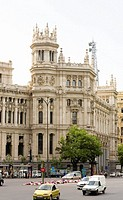 Facade of a government building, Palacio De Comunicaciones, Plaza de Cibeles, Madrid, Spain