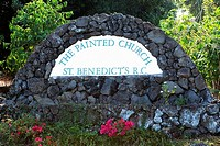Text written on a wall outside a church, St  Benedict's Catholic Church, Honaunau, Hawaii Islands, USA