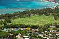High angle view of trees along a coast, Diamond Head, Waikiki Beach, Honolulu, Oahu, Hawaii Islands, USA