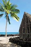 Hut on the beach, Puuhonua O Honaunau National Historical Park, Kona Coast, Big Island, Hawaii Islands, USA