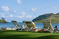 Lounge chairs on the beach, Nawiliwili Beach Park, Kauai, Hawaii Islands, USA