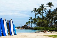 Surfboards on the beach, Kona, Big Island, Hawaii Islands, USA