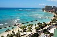 Aerial view of palm trees on the beach, Waikiki Beach, Honolulu, Oahu, Hawaii Islands, USA