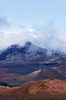 Clouds over mountains, Haleakala National Park, Maui, Hawaii Islands, USA