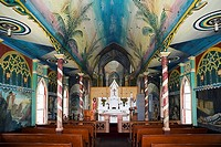 Interiors of a church, St  Benedict's Catholic Church, Honaunau, Hawaii Islands, USA