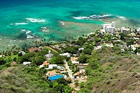 High angle view of buildings at the coast, Diamond Head, Waikiki Beach, Honolulu, Oahu, Hawaii Islands, USA