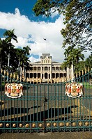 Facade of a government building, State Capitol Building, Iolani Palace, Honolulu, Oahu, Hawaii Islands, USA