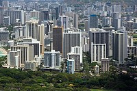 High angle view of a cityscape, Honolulu, Oahu, Hawaii Islands, USA