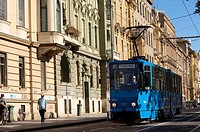 Tram in Praska Street, Zagreb, Croatia