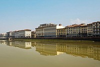 River in front of buildings, Arno River, Florence, Tuscany, Italy