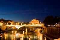 Bridge across a river, Ponte Sant Angelo, Tiber River, Rome, Italy (thumbnail)