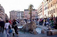 Tourists around a fountain, Piazza di Spagna, Rome, Italy