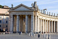 Facade of a church, Bernini's Colonnade, St  Peter's Square, Vatican City