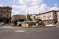 Fountain in front of a building, Fontana Delle Naiadi, Piazza Della Repubblica, Rome, Italy