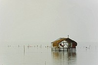 Reflection of a stilt house in water, Cienaga, Atlantico, Colombia