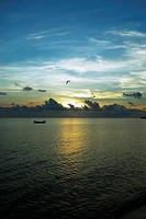 Sunset over the sea, South West Bay, Providencia, Providencia y Santa Catalina, San Andres y Providencia Department, Colombia