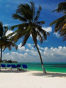 Tents and chairs on the beach, Spratt Bight Beach, San Andres, Providencia y Santa Catalina, San Andres y Providencia Department, Colombia