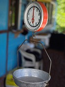 Close-up of a weighing scale in a store, Providencia, Providencia y Santa Catalina, San Andres y Providencia Department, Colombia