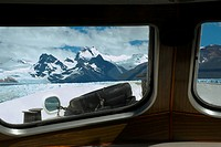 Mountain viewed through the window of a ship, Lake Argentino, Patagonia, Argentina (thumbnail)