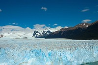 Glacier in a lake with mountains in the background, Moreno Glacier, Argentine Glaciers National Park, Lake Argentino, El Calafate, Patagonia, Argentin...