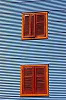 Windows on the wall of a building, Caminito, La Boca, Buenos Aires, Argentina