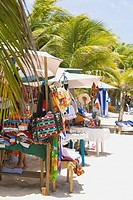Market stall on the beach, Honduras