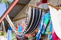 Hammocks hanging at a market stall, Coxen Hole, Roatan, Bay Islands, Honduras