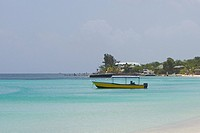 Boat in the sea, West Bay Beach, Roatan, Bay Islands, Honduras