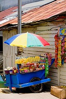 Market stall in front of a building, Coxen Hole, Roatan, Bay Islands, Honduras