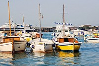 Boats docked at a port, Marina Grande, Capri, Campania, Italy