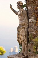 Close-up of a statue of Emperor Augustus, Monte Solaro, Faraglioni Rocks, Capri, Campania, Italy