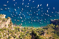 Aerial view of boats in the sea, Capri, Campania, Italy